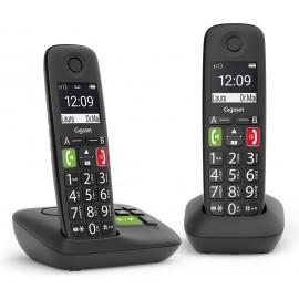 Gigaset E290A Duo Telefone analógico DECT Preto ID do Emissor e Nome