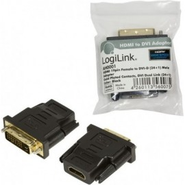 LogiLink HDMI to DVI Adapter HDMI 19-pin female DVI-D (24+1) male Preto
