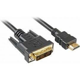 Sharkoon 4044951009053 adaptador de cabo de vídeo 2 m HDMI DVI-D Preto