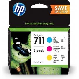 HP 711 Cartões Ciano, Magenta, Amarelo