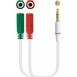 Nanocable 10.24.1201 cabo de áudio 0,2 m 3.5mm 2 x 3.5mm Branco