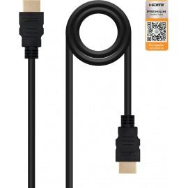 Nanocable HDMI V2.0, 0.5m cabo HDMI 0,5 m HDMI Type A (Standard) Preto