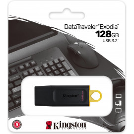 Kingston Technology DataTraveler Exodia unidade de memória USB 128 GB USB Type-A 3.2 Gen 1 (3.1 Gen 1) Preto