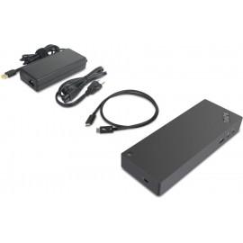 Lenovo 40AN0135EU base & duplicador de portas Com fios Thunderbolt 3 Preto, Vermelho