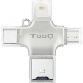 TooQ TQR-4001 leitor de cartões USB Type-A USB Type-C Micro-USB Lightning Prateado