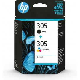 HP Conjunto de 2 tinteiros tricolor pretos 305 originais